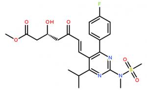 Methyl (+)-(3R)-7-[4-(4-fluorophenyl)-6-isopropyl-2-(N-methyl-N-methanesulfonylamino)pyrimidin-5-yl]-3-hydroxy-5-oxo-(6E)-heptenoate